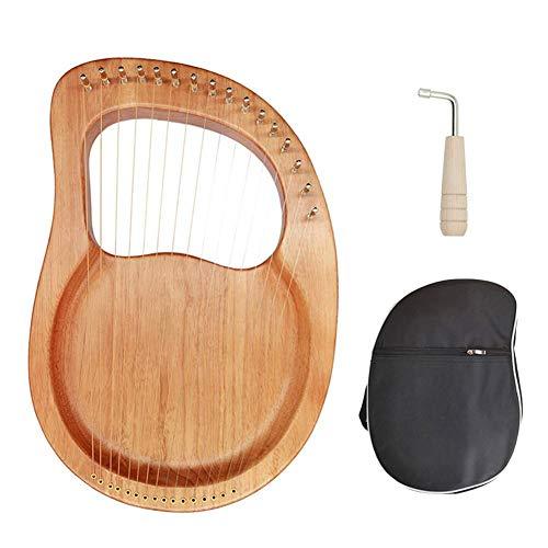 Lyre Harfe, Lyre Harp, 16 cuerdas de metal huesos, sillín de caoba, arpa con llave de afinación y funda negra para principiantes