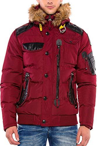 Cipo & Baxx Herren Steppjacke Winterjacke Jacke Kapuzenjacke Parka Mantel Winter Jacke Burgundy S