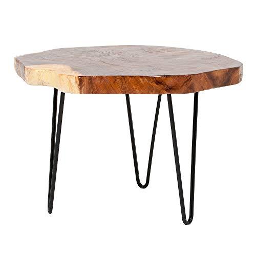 LEBENSwohnART Beistelltisch Gordo-L Natural Suar Couchtisch Tisch Baumkante Handarbeit