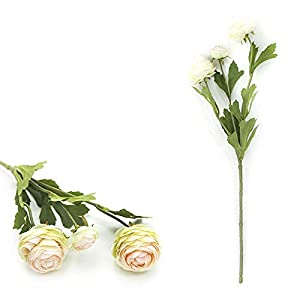 Artificial Flower 3 Heads Artificial Ranunculus Bouquet DIY Silk Flower for Bridal Wedding Decor – (Color:Champagne+Green)