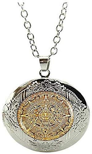 Maya-Kalender Medaillon Halskette, Maya-Kalender Schmuck, Azteken-Schmuck, Maya-Schmuck, Glaskuppel Schmuck