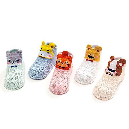 FANMU 2020 Calcetines altos de malla para niños, calcetines antimosquitos y rodillas, calcetines finos de algodón para bebé León Serie S Código M