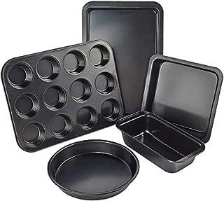 Ensemble de moules de cuisson en acier anti-adhésif avec grille de refroidissement, plaque de cuisson et plaque à biscuits