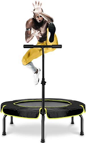 Happy Jump Trampolín, Plegable Cama Elástica Fitness con Mango,Ø101cm,Peso Carga Máximo 250lbs