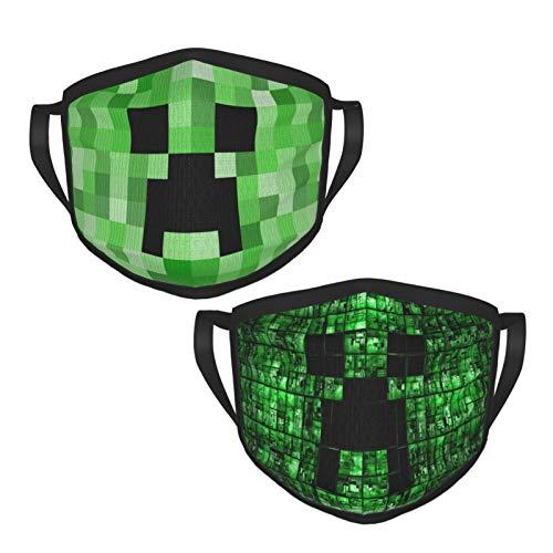 Mi-ne-Craft Creeper Face Mouth Covers Protective Face Ma-sk Washable Reusable Black Border Mask for Men Women (2Pcks)