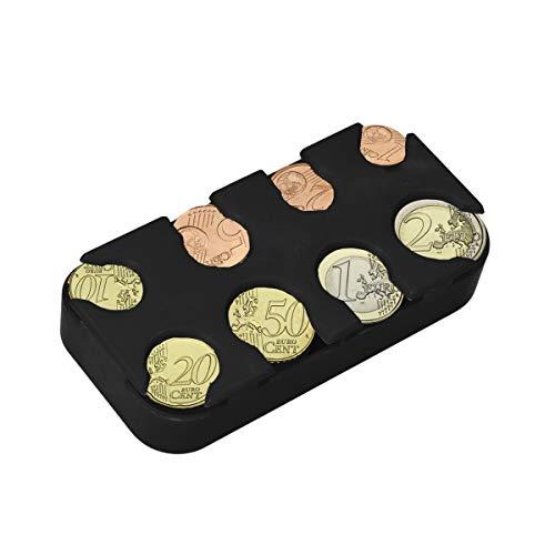 kwmobile Scatola Portamonete 8 Scomparti - Box Organizer Porta Monete a Molla - Slot x8 Monete da 1 Centesimo a 2 Euro - nero