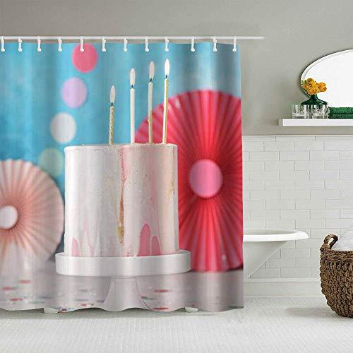 Duschvorhang Kuchen mit Kerzen auf der Oberseite niedlichen bunten personalisierten Dekor Badezimmer Vorhang 180x210