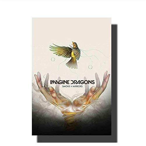 XuFan Imagine Dragons Smoke Mirrors Art Painting Poster Print Decoración Room Room Picture Picture Decoration Gift Wall Art-20X30 Inch Sin Marco
