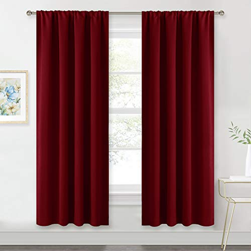 Red Curtains Blackout Window Covering - RYB HOME Light Blocking UV Protection Draperies Window Treatments Shades for Babys' Room / Nursery, 42 Wide by 72 Long, Burgundy Red, Set of 2