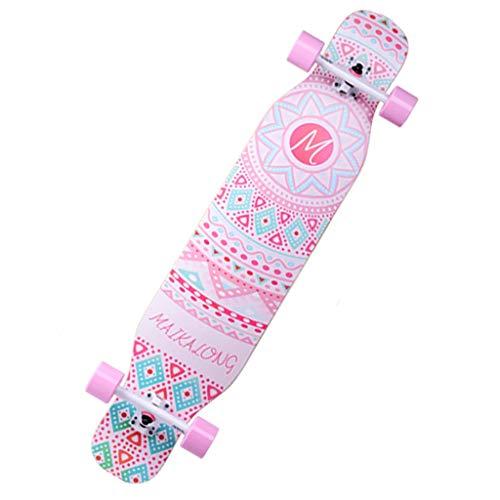 Scooters Skateboard Longboard Male and Female Adult Children Brush Street Travel Beginner Dance Dance Board Road Skateboard 110 23.5 Pink (Color : Pink, Size : 11023.513cm)