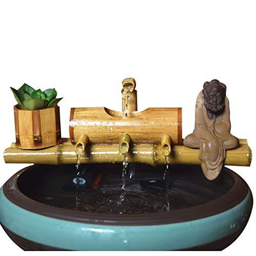 Fuente de agua para mesa de bambú reciclaje de agua Feng Shui decoración de piedra filtro de escritorio muebles de oficina decoración de paisaje (tamaño: 40 cm)