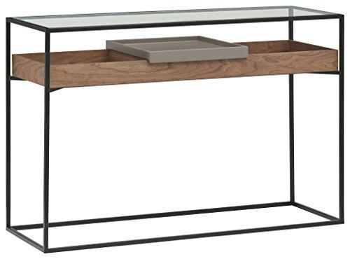 Amazon Brand -Rivet King Street Industrial Table, 120cm, Walnut/Black Metal/Glass