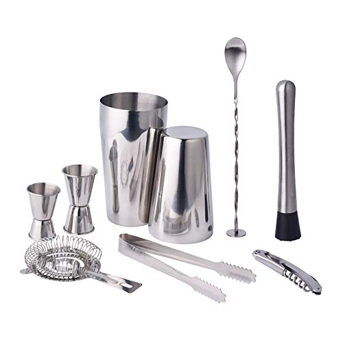 Cocktailset, 9-delige cocktailaccessoires Professionele Coaktail Shaker Boston Shaker-set 700 ml en 500 ml met Jigger-zeef Muddler & Spoon
