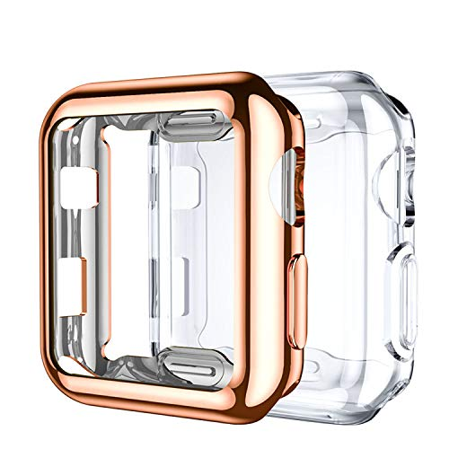 Upeak Screen Protector Compatible with Apple Watch Series 1/2/3 42mm, Soft TPU Full Coverage Protective Case Cover Compatible with iWatch Series 1 2 3, 2 Pack, Clear/Rose Gold
