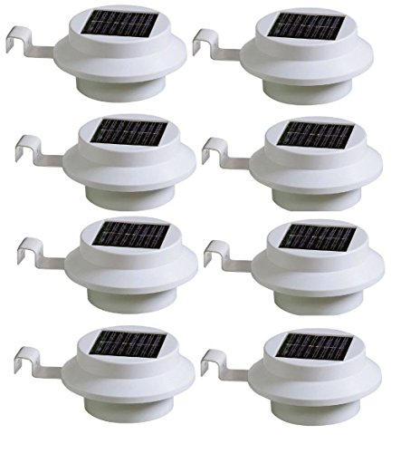 Pack of 8 White Superbright 3 LED Solar Powered Lights for Gutters or Garden Fences(with Battery)