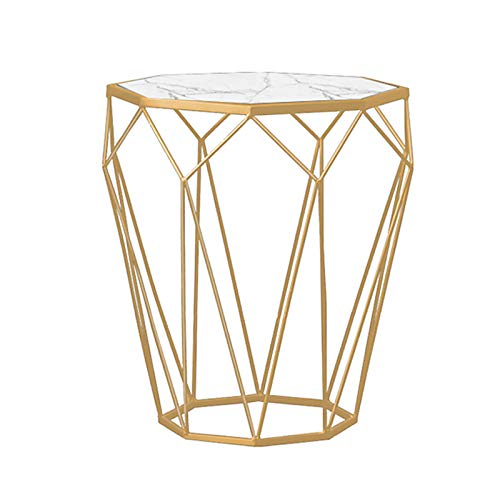 ZRN Modern Side Table, Golden Geometric Frame Accent Coffee Table, (H) 56 X (D) 36 CM
