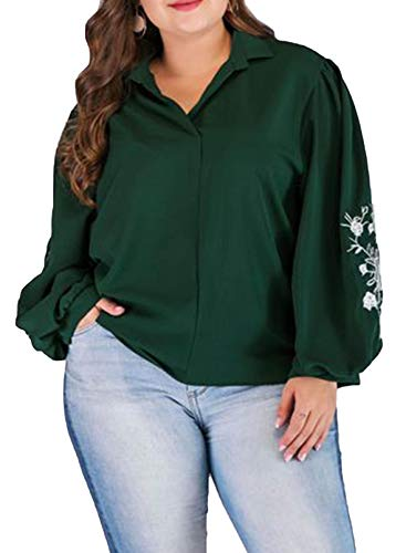 CORAFRITZ Damen Casual besticktes Hemd für Damen Oversized Tunika Tops Bluse Hemd...