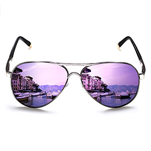 Adults Purple Mirror Lens Aviator Sunglasses, other colors available