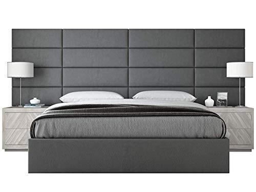 VANT - Têtes de lit rembourrées - Panneaux muraux d'appoint - Paquet de 4 - Installation Facile - Tête de lit avec lit King Size (Étain en Cuir Gris, 91cm de Largeur)