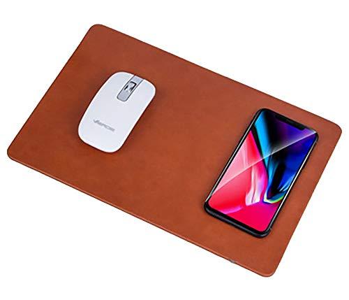 LinQ®, caricatore wireless Qi con tappetino da mouse, per iPhone X, iPhone 8/8 Plus, Samsung Note 8, S9, S8, S7, S6/Edge, Nexus 5/6/7 marrone marrone