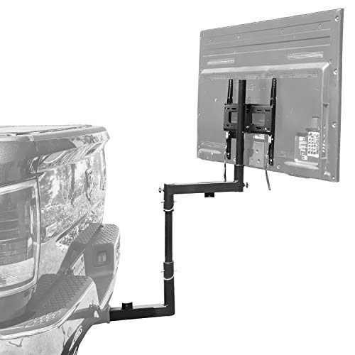 Mount-It! Tailgate TV Mount   Full Motion Tailgate TV Stand for 2 Inch Receiver Hitch   Height Adjustable, Swivel Motion Fits Up to 55 Inch TVs  Steel, Black