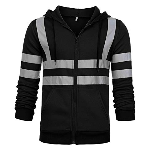 Sweatshirt Mens Motorcycle Reflective Road High Visibility Pullover Casual Long Sleeve Hooded Zipper Pocket Streetwear (Color : Black)