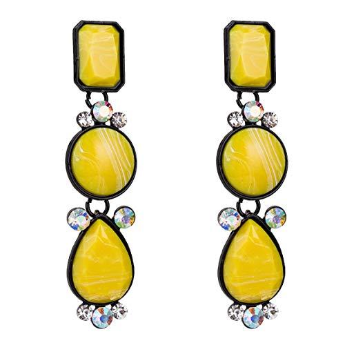 Allshiny Pendientes Pendientes exagerados de Europa y América Pendientes de Diamantes de múltiples Capas de Resina Joyería de Moda Simple con Pendientes de Estilo INS for Mujeres (Color : Yellow)