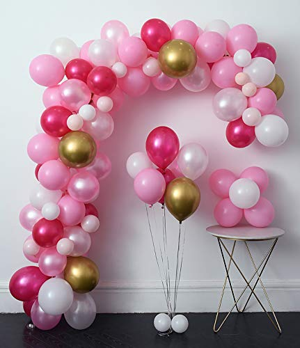 Pink Party Balloons 110 Pcs 12in Hot Pink & Gold Metallic Balloons Pearlescent Balloons Arch &Decorating Strip+Balloon Tying Tools+Points Stickers+Flower Clips+Silver Ribbons,Wedding, Shower, Party