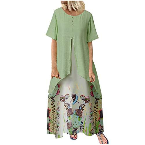 MRULIC Damen Kleid Kurzarm Rundhals Sommerkleider BöHmen Drucken Mollige Lose Maxikleid Vintage Casual Strandkleider Party Kleider Abendkleid(B1-Grün,XL)