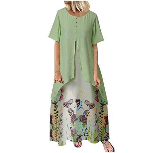 URIBAKY Zweiteiler Kleid Drucken Damen Vintage Sommerkleider Boho Frauen Casual Kurzarm Große Größen Kleid Maxi-Kleider Lang,T Shirt Kleider Lang