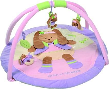 doudou et compagnie tapis d eveil bebe tapis de jeu lapin lila 90 cm mauve dc2639