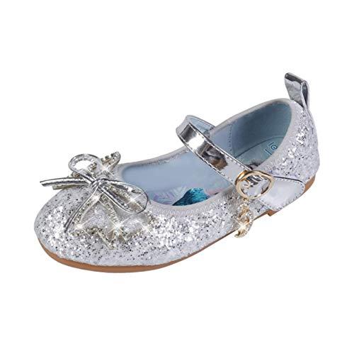 STRDK - Zapatos de fiesta para nias, princesa, para cosplay, Elsa, reina de la nieve, purpurina Mary Jane, color Plateado, talla 26 EU