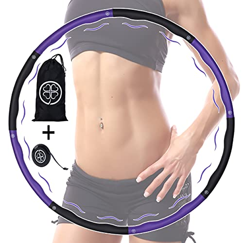 Clove ® Hula Hoop Reifen für Erwachsene mit Tasche zum Abnehmen - Hula-Hoop Reifen mit Massage Noppen für Gewichtsverlust - Premium Fitnessreifen ideal für Fitness/Bauchformung/Bauchtrainer ca 1,2 kg