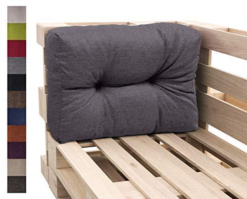 sunnypillow Palettenkissen Auflage Set für Europaletten Indoor und Outdoor Palettenpolster Palettensofa Kissen mit schöner Steppung viele Größen Seitenkissen 60 x 40, Anthrazit