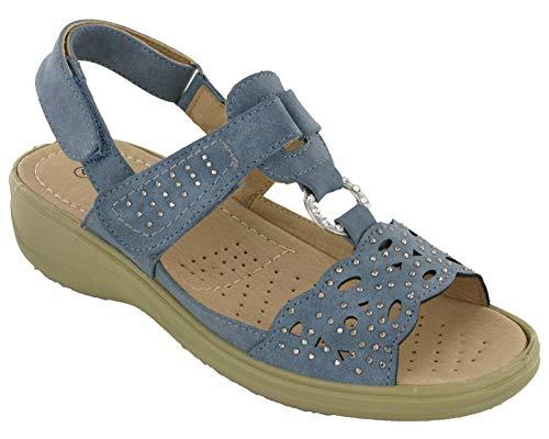 Cushion-Walk Halter Back Twin Strap Womens Sandals Wedge UK 3-8 (UK 5 / EU 38, Blue)