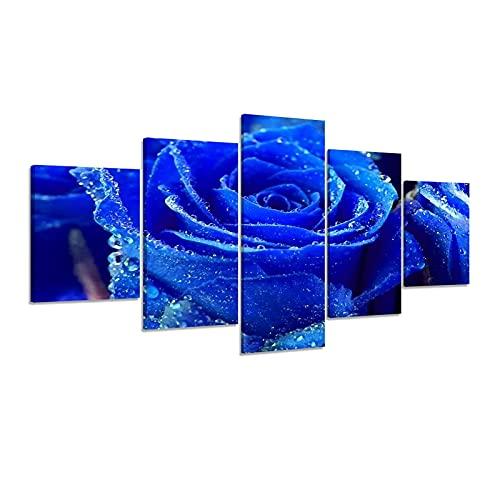 Aiyong Lienzo decorativo para pared, diseño de rosas azules y flores, 5 piezas
