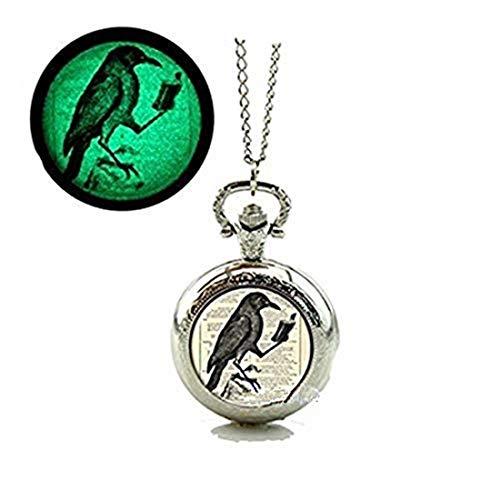 Raven Brillante Reloj de bolsillo Collar Negro Cuervo Cristal Joyería Brillante En La Oscuridad Reloj Collar