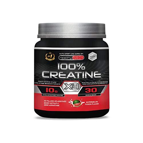 Creatina monohidrato pura microfiltrada con vitamina B6 | La única creatina 100% pura | Favorece el crecimiento muscular y la resistencia | Absorción rápida y completa | 30 tomas sabor a sandí