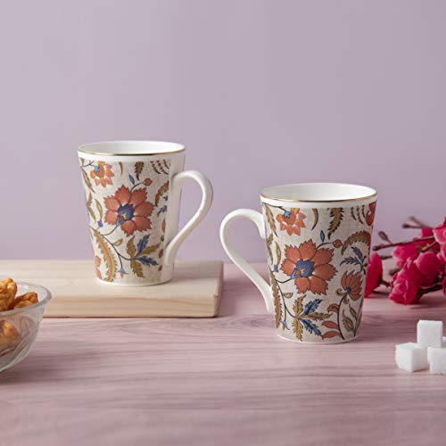 MRD ZONE Bone China Coffee Mugs - Set of 2, Multicolour, 300ml