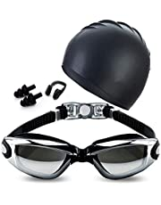 Swim Goggles Set with Swim Cap Nose Clip Earplugs Swimming Goggles Anti-Fog UV Protection Coated Lens No Leaking Case for Men Women Adult Youth Kids