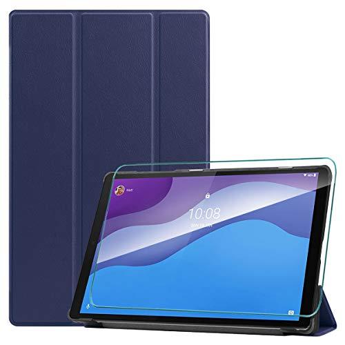 WenJie Funda para Lenovo Tab M10 HD (2nd Gen) 10.1' TB-X306F / TB-X306X + Vidrio Templado, Carcasa Folio Ligera con Carcasa Silicona TPU Smart Cover Case con Soporte Función - Azul Oscuro