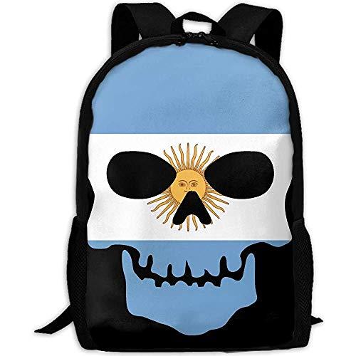 Cráneo Esqueleto Argentina Bandera Impresión Personalizada Casual Mochila Escolar Mochila Viaje Mochila Regalos
