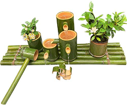 MissZZ Fuente de Agua de bambú Feng Shui para Exterior, jardín japonés, con caño y Bomba, Fuente de jardín Hecha a Mano, esculturas, estatuas, Manualidades, Cascada Que Fluye, 35 cm