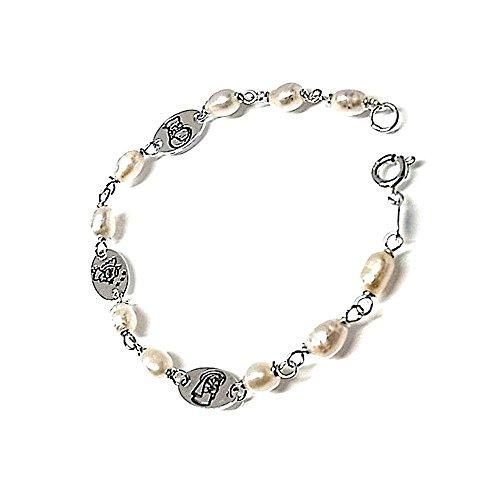 Pulsera Plata Ley 925M Perlas Medallas Virgencitas [Ab0673]