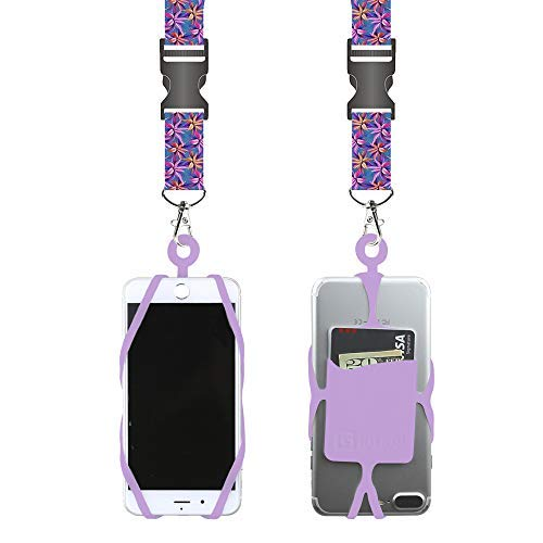 Universal Cell Phone Lanyard Compatible with iPhone, Galaxy & Most Smartphones Includes Phone Case Holder with Card Pocket,Soft Neck Strap with Breakaway Clasp & Detachable Convenience Clip