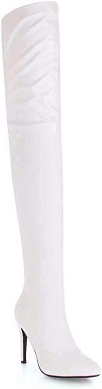 T -JULY Wonen s Over -the -Knee stövlar, Solid Plush Plush Plush Zip Pointed Toe Thin klackar Keep Warm skor.  presentera alla senaste high street mode