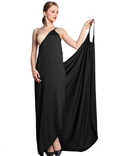 EMMA Damen Sommer Sexy V-Ausschnitt Spaghetti Träger Rückenfrei Einfarbig Sarong Wrap Urlaub Lange Strandkleider Strandtuch Towel Bikini Cover Up Pareos S-XXL(BL,2XL)