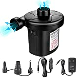 Electric Air Pump, Naimkair Portable Quick-Fill Fast Inflator and Deflator Pump with 3 Nozzles, 110V AC/12V DC, Perfect for Inflatable Couch, Air Mattress, Swimming Ring, Inflatable Pool Toys