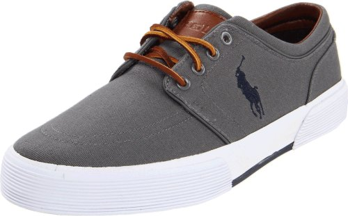 Polo Ralph Lauren mens Faxon Low fashion sneakers, Grey Canvas, 14 US