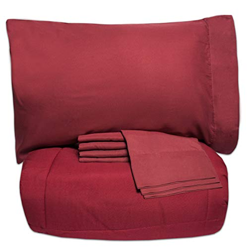 Sweet Home Collection 7 Piece Bed-In-A-Bag Solid Color Comforter & Sheet Set, Full, Burgundy